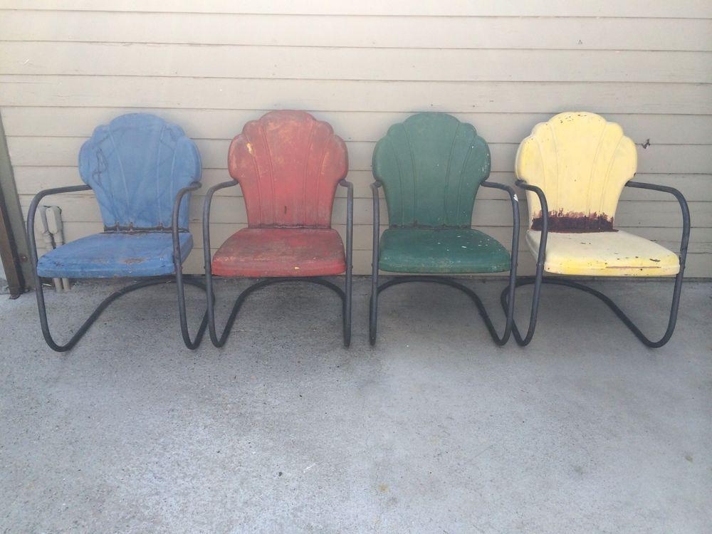 Wonderful Vintage 1950u0027s Shell Scallop Back Metal Porch Lawn Patio Chairs 4 Total U003e  Estate #MidCenturyModern