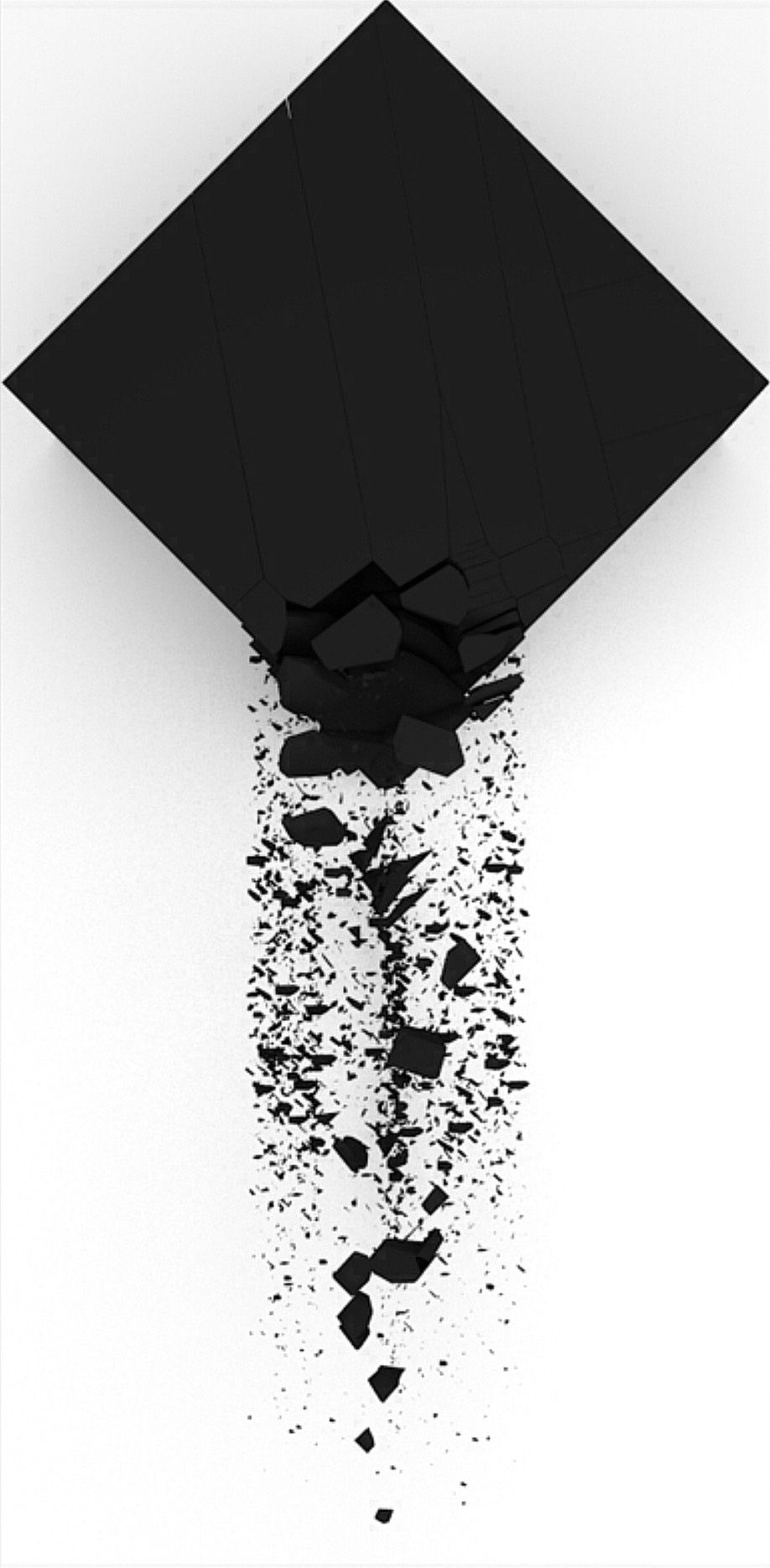 White cover with black X crumbling Mais