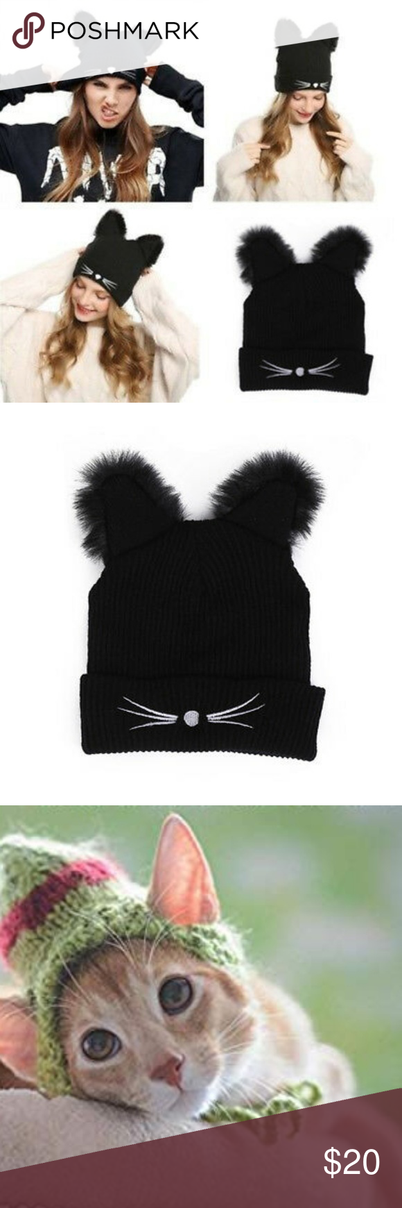 Cat Ears Hat Embroidered Warm Knit Skull Cap NWT Cat