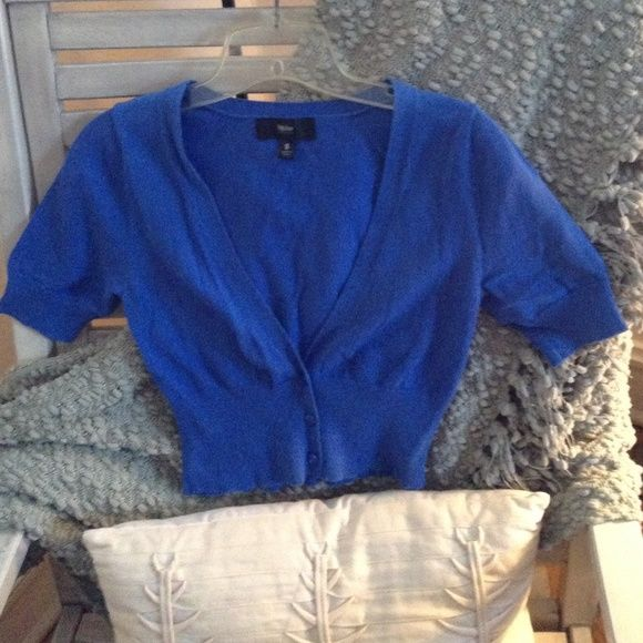 Royal blue short sleeve cropped cardigan | Royal blue shorts ...