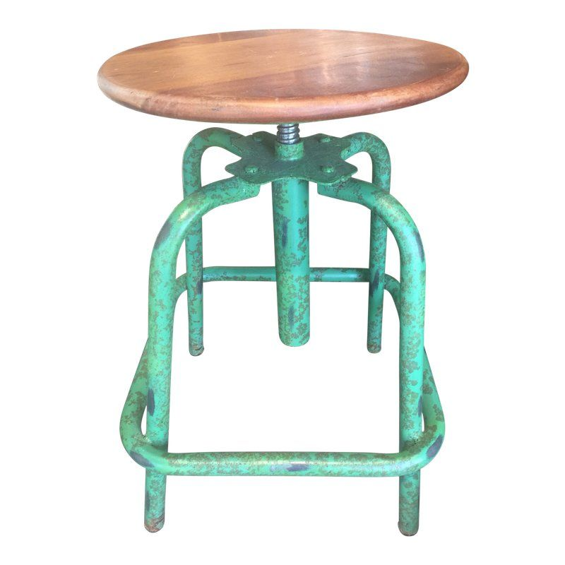 Amazing Industrial Green Adjustable Round Wood Metal Stool In 2019 Pabps2019 Chair Design Images Pabps2019Com