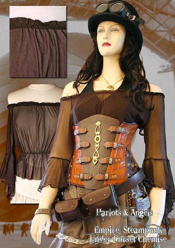 Marrón Steampunk victoriano pura bajo blusa por Harlotsandangels