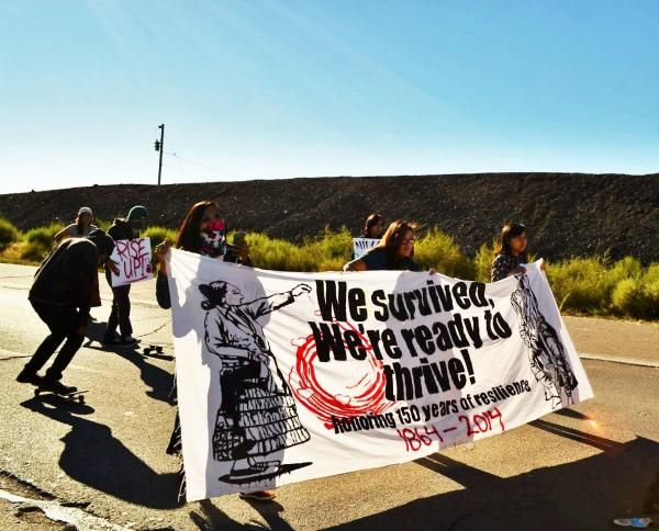 """January 6, 2015, a group of young Diné (Navajo) women and their supporters will gather at the base of Dził Na'oodiłii (Huerfano Mountain). From here the group will embark on a 200-mile trek through eastern New Mexico—a tribute to the 150th anniversary of the tragic """"Long Walk."""" Throughout this journey they intend to raise awareness about the historical and present day challenges faced by Diné people and inspire hopeful solutions to address these issues."""