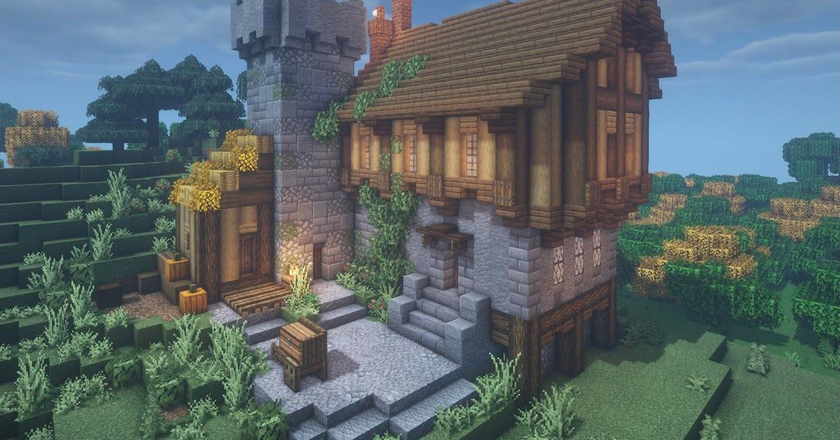 A cool me val farmhouse with a tower