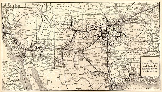 1918 Antique ATCHISON TOPEKA Santa Fe RAILROAD Map Vintage - Santa Fe On Us Map