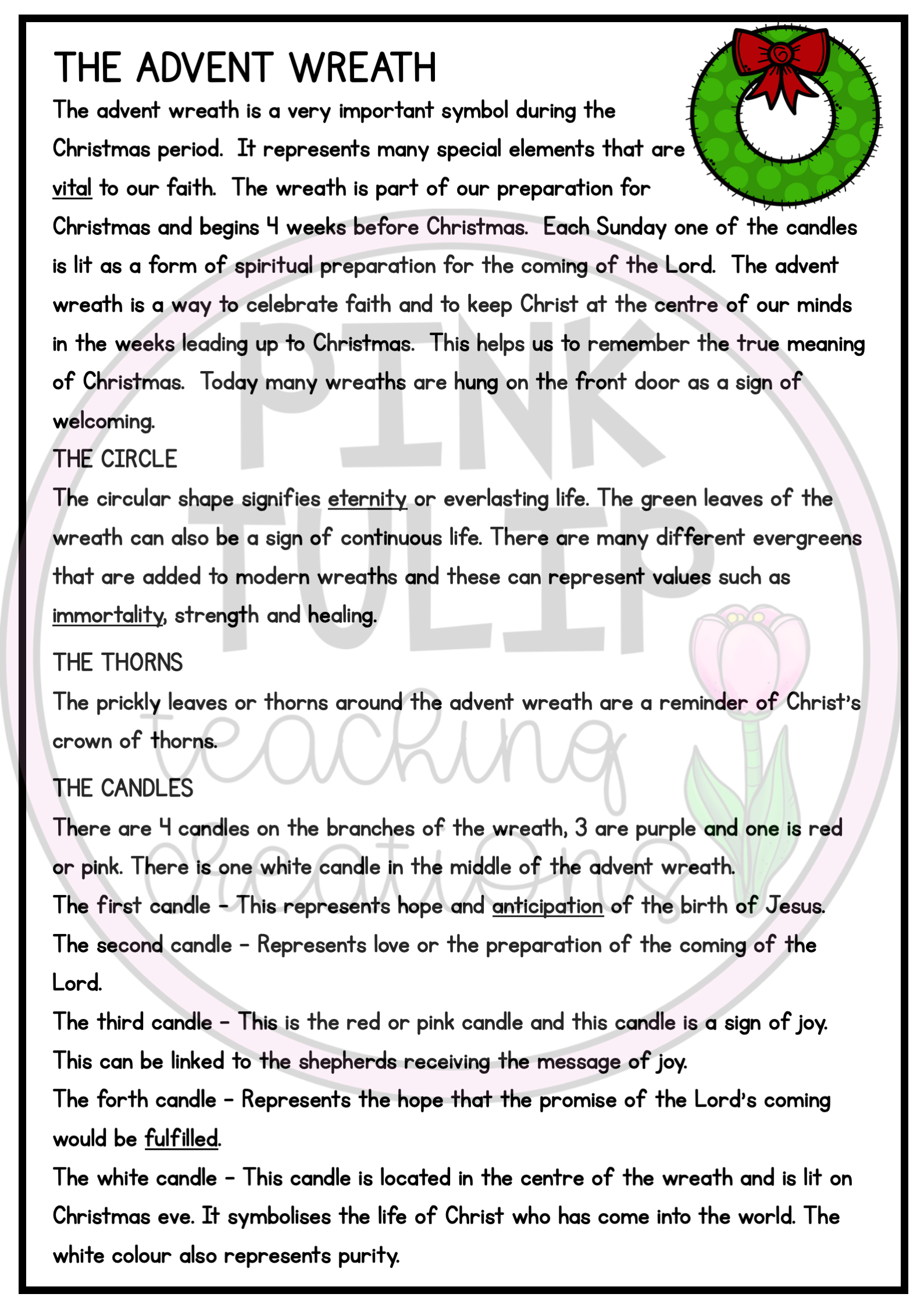 Advent Wreath Christmas Comprehension