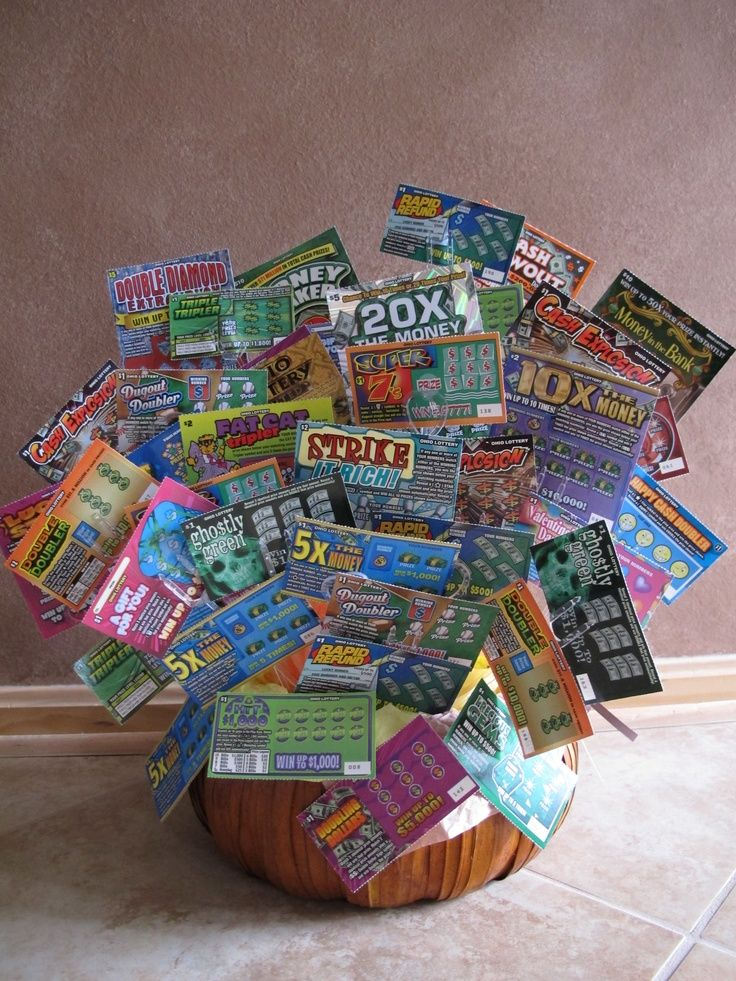 A Gift Basket Lottery It Is Filled With Lottery Lottery Ticket Basket.  How To Make Tickets For A Fundraiser
