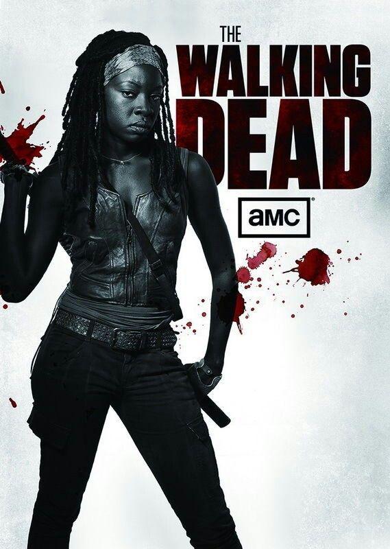 Walking Dead - black and white, blood splatter poster -  Michonne