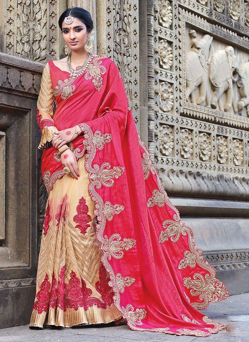 c252aef39b0886 Shop Online Cream Pink Art Silk Net #WeddingSaree @Chennaistore.com ...