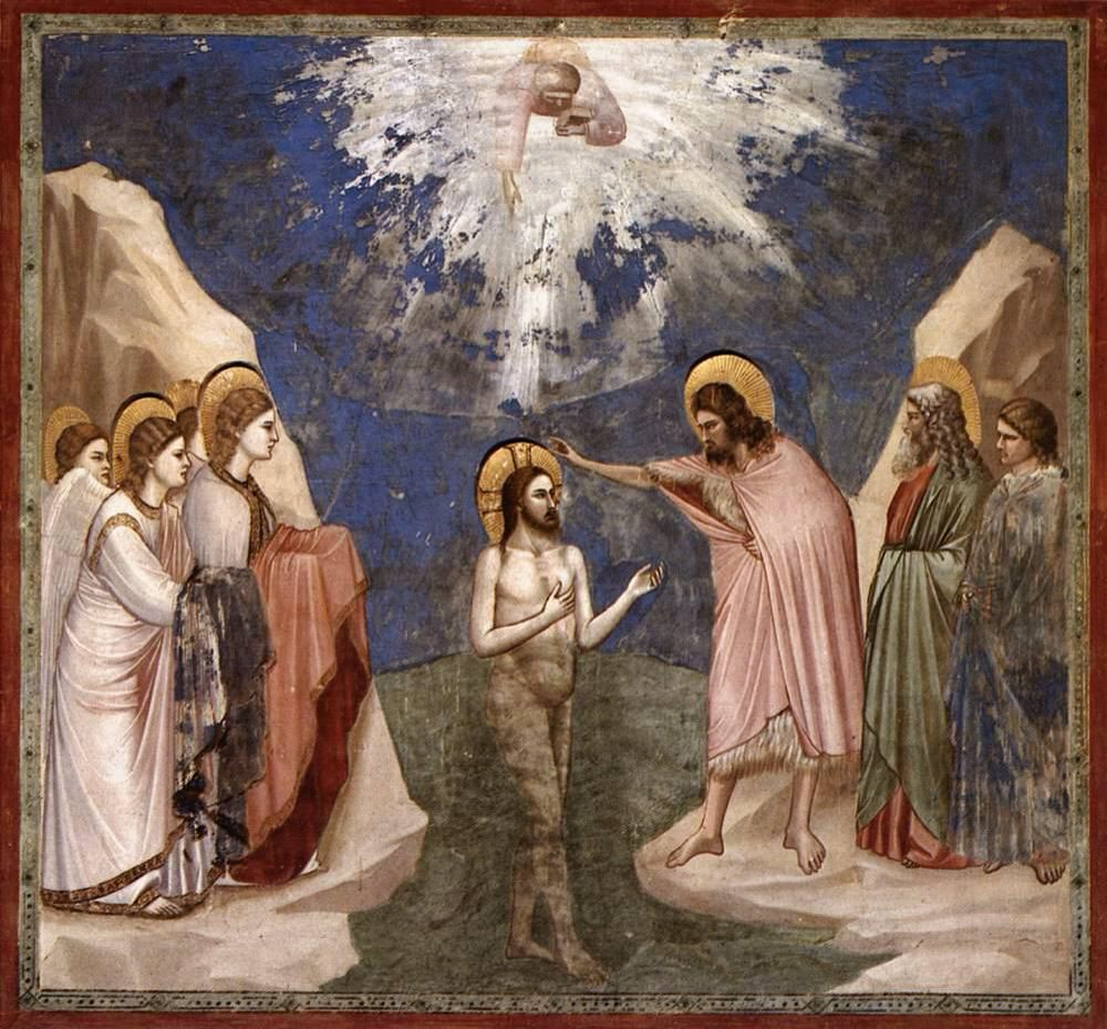Giotto Battesimo di Cristo 1303-1305 tecnica affresco Padova Cappella degli Scrovegni