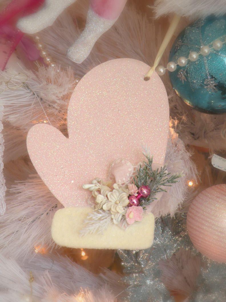 Photo of Sweet shabby mitten Pink Christmas Tree, Shabby Chic Christmas, Christmas Orname…