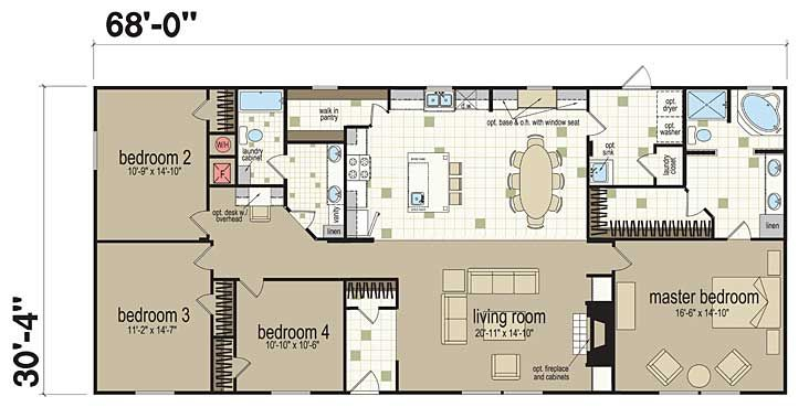 Floor Plans: Champion 3268B - Manufactured and Modular Homes ... on