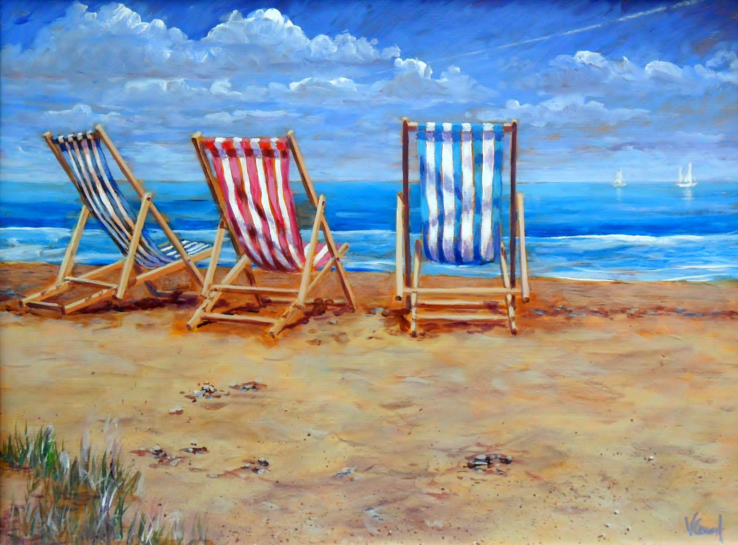 Beach chairs on the beach painting - Beach Art