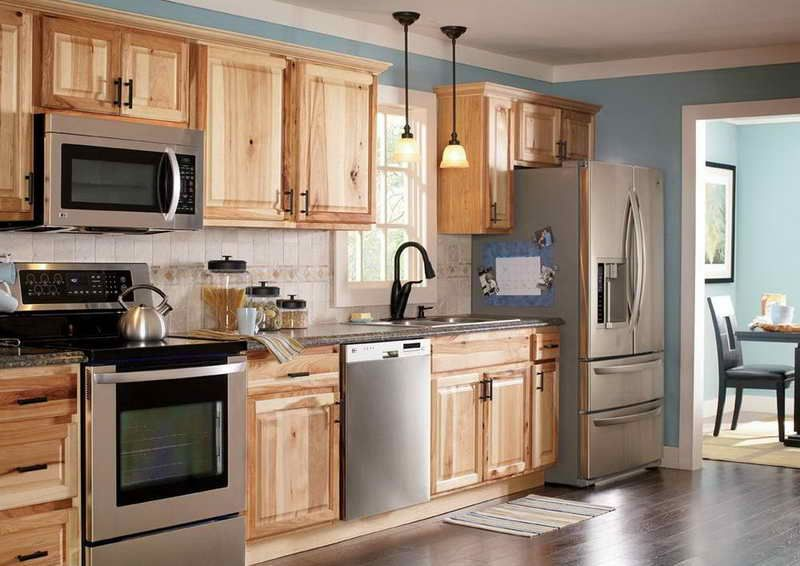 Kitchen Astonishing Hampton Bay Natural Hickory Cabinets With Encapsulated Panels And Wall Cabinet Hickory Kitchen Cabinets Home Depot Kitchen Hickory Kitchen