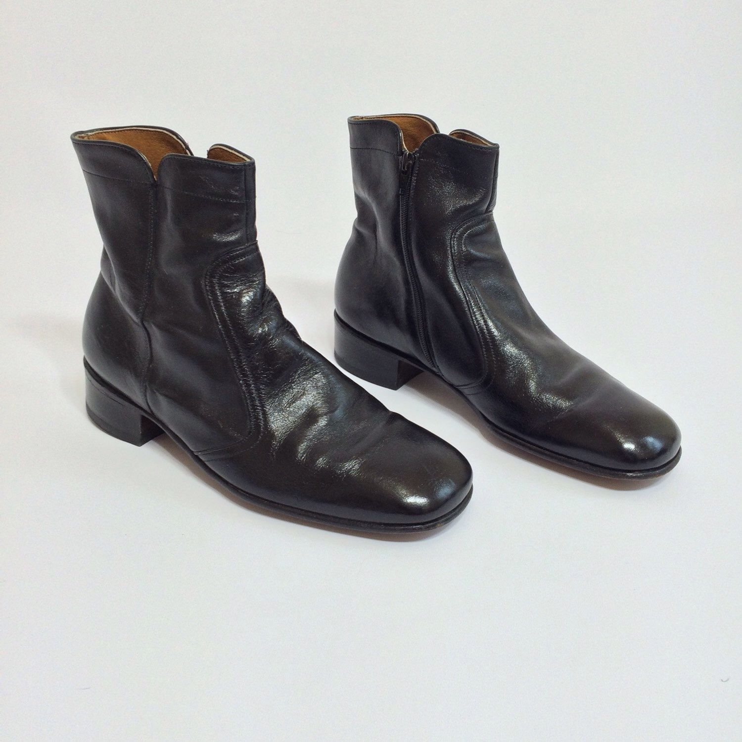 19e4986bf58f 70s Black Leather Ankle Boots Mod Beatle Boot Zip Up Motorcycle Boots Mens  Size 11 Dress