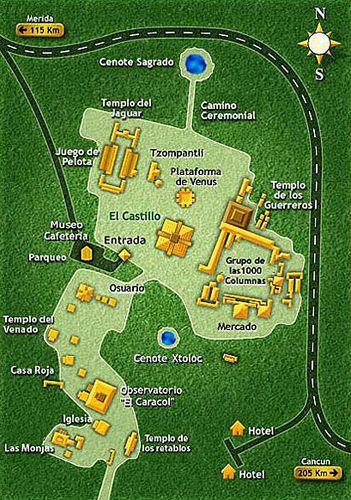 Mapa de las ruinas de Chichén Itzá, el abuelo de todas ellas, ya Chichen Itza Map on