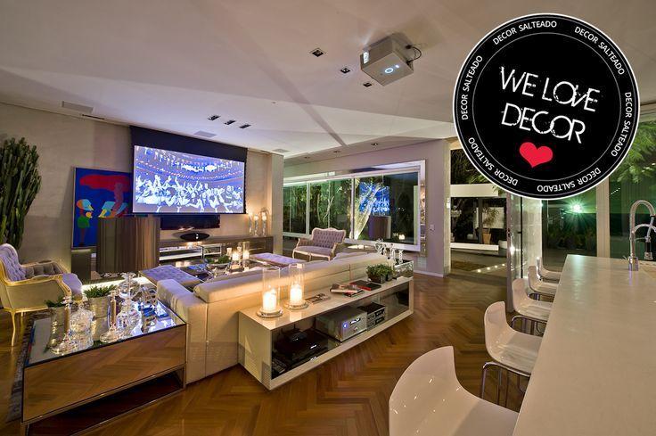 Cozinha e salas estar/jantar integradas com decora��o neutra e moderna � we love decor!