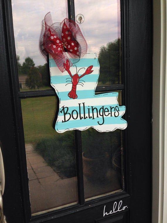 Photo of Louisiana state wooden door hanger. Crawfish door hanger.new orleans door hanger. Summer door hanger.wooden sign,snowball,summer wreath