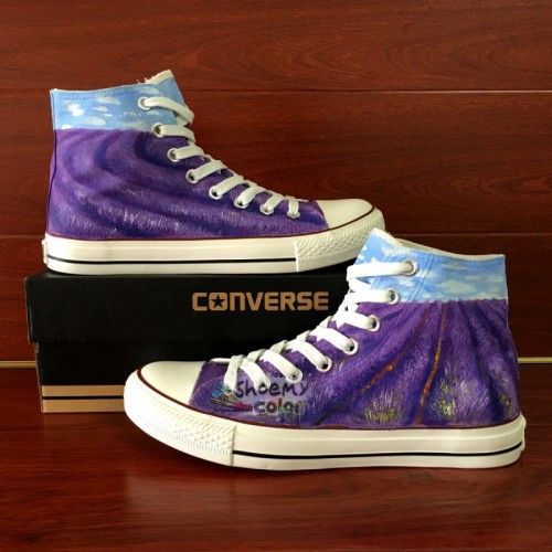 Hand Painted Shoes Womens Converse Lavender High Top Canvas Sneaker