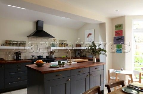 Best Fitted Dark Grey Kitchen Units With Wooden Worktops And 640 x 480