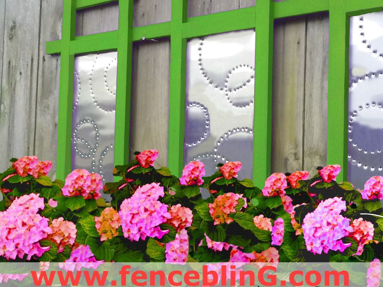 Outdoor wall art geometric fence bling in green is a lovely delight