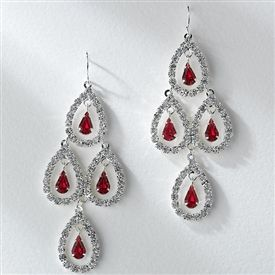 $29.95 on sale on usabride.com. Radiant Red Chandelier Earrings ...