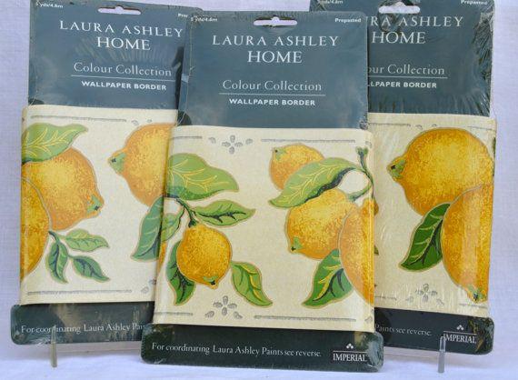 Laura Ashley Wallpaper Border Fresh Lemons Set Of 3 New Etsy Wallpaper Border Wallpaper Lemon Set