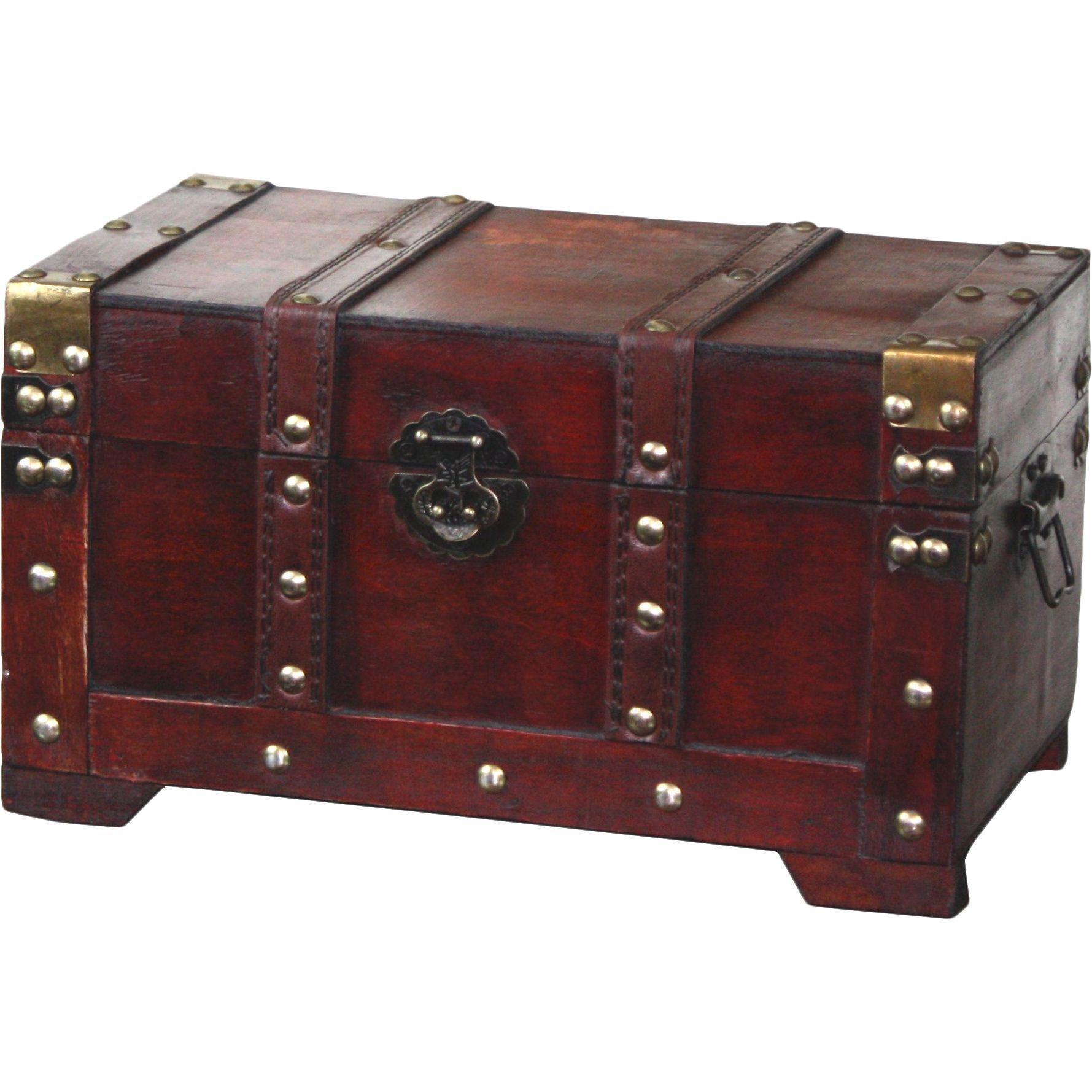 Hide Your Treasures In This Decorative Antique Style Wooden Trunk Perfect For Decoration Or Storage