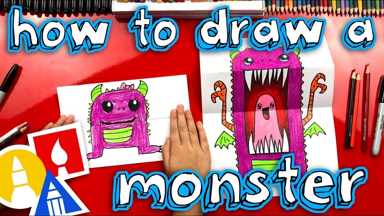 How To Draw A Scary Cute Monster Folding Surprise Youtube