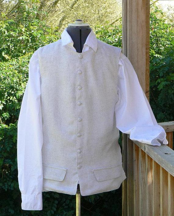 Colonial Pirate Vest Linen Renaissance Waistcoat LARP Mens Historic Costume