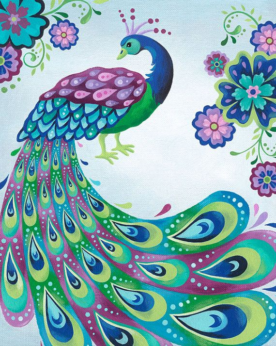 Enchanted peacock canvas wall art peacock painting for Beautiful painting designs