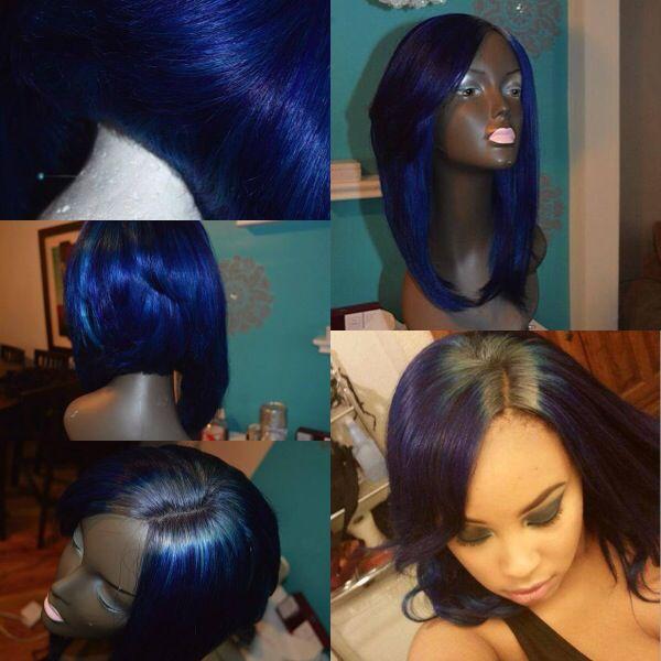 Custom wig. Midnight blue w/ grey roots