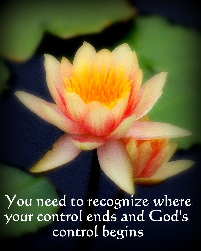 You need to recognize where your control ends and God's control begins
