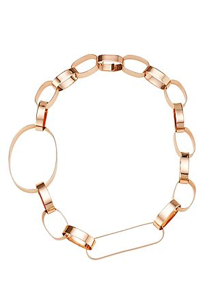 Flattened+metal+loops+in+an+artful+mix+of+sizes+gives+Maison+Margiela's+pink+gold-toned+necklace+a+bold+finish+#Stylebop