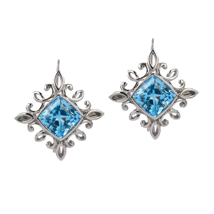 The 'Calligraphy' earrings set in palladium features 17.01 carat total weight of Blue Topaz.