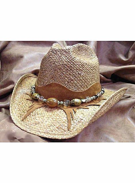 faaa7c1ad0c Shady Brady Hats New West Collection Western Raffia Straw Hat w Amber Bead  on Crescent Chap