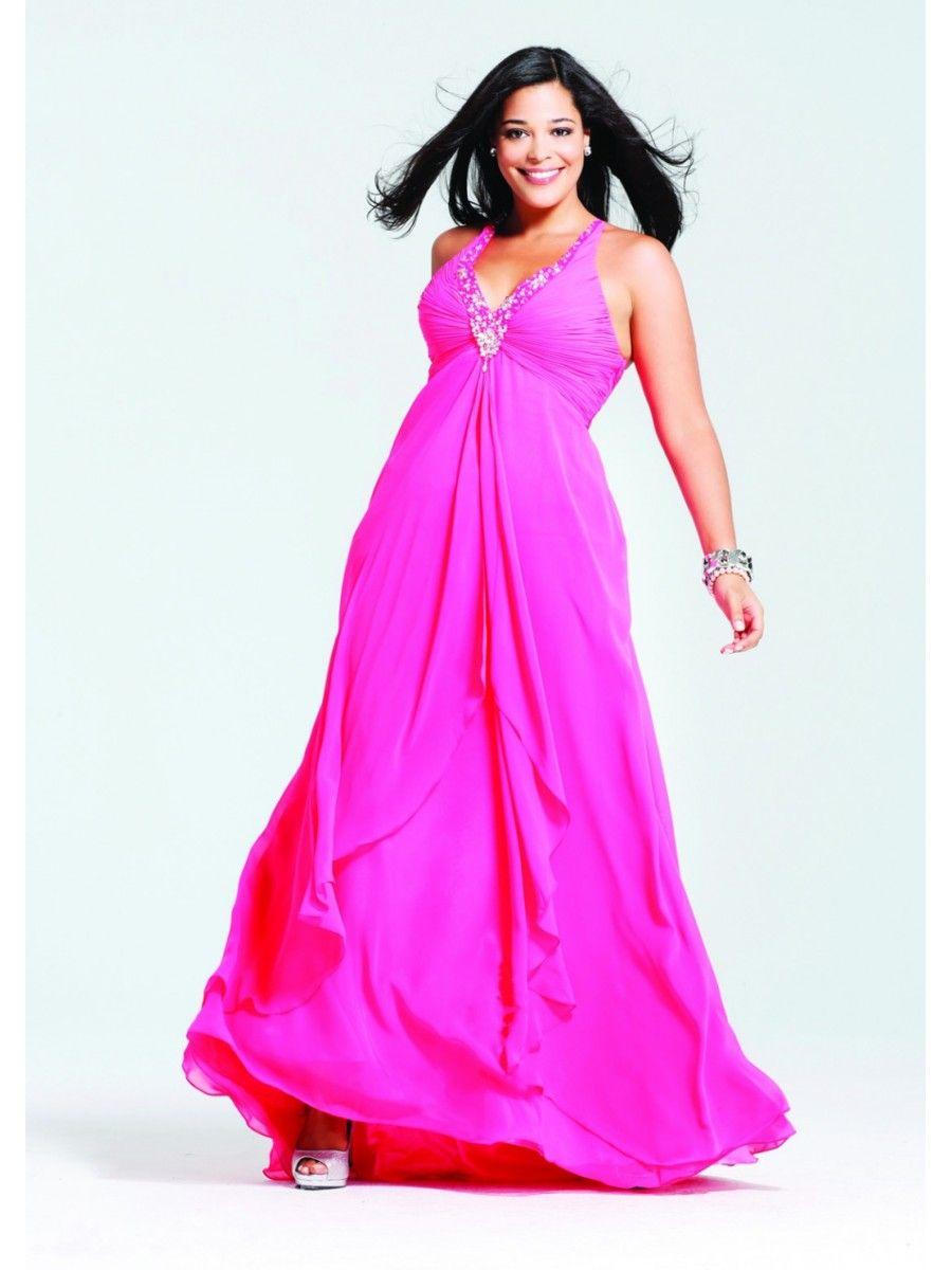 A-line Straps Sleeveless V-neck Long Chiffon Plus Size Prom ...