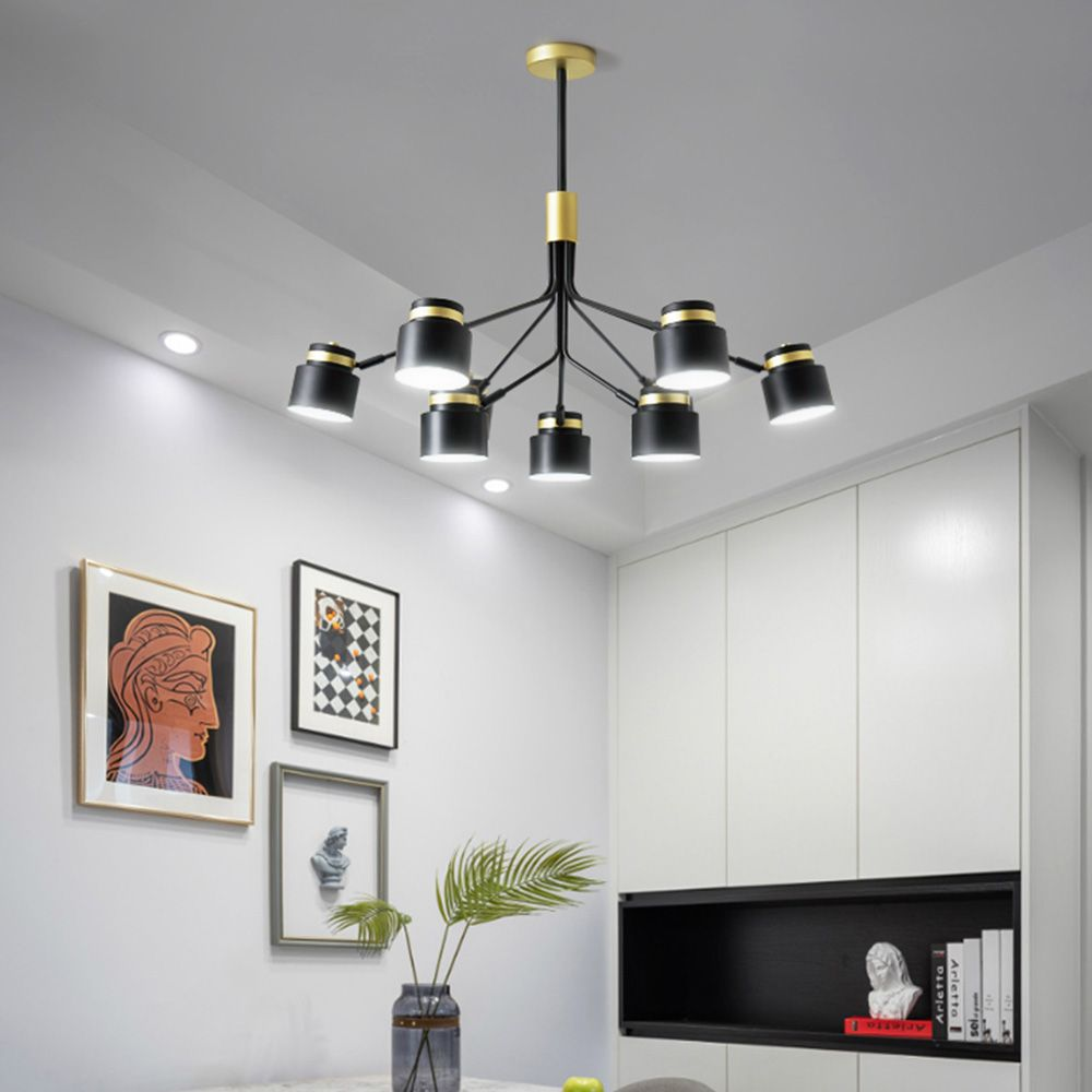 Modern Black Pendant Lamp Wrought Iron Chandelier Living Room Bedroom Qm 6828 In 2020 Chandelier In Living Room Iron Chandeliers Black Pendant Lamp
