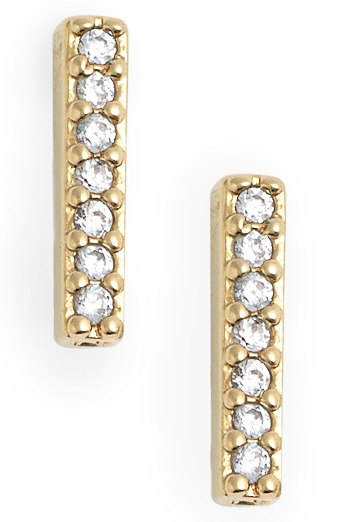 The Sparkling Crystals Of These Trendy Nadri Stud Earrings Really Shine  Against The Gold Polished Bars