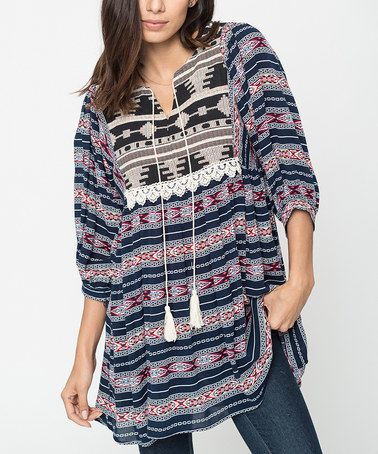 Loving this Navy Geometric Embroidered Peasant Tunic on #zulily! #zulilyfinds