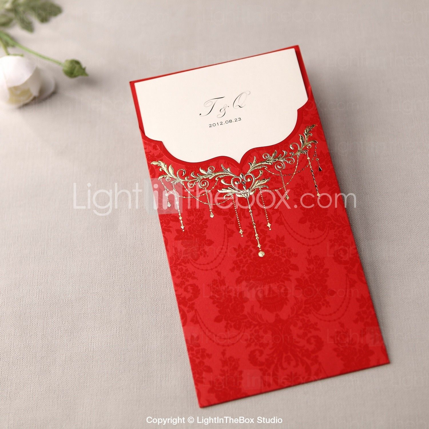 Royal Luxury Tri-fold Wedding Invitation In Red (Set of 50) - USD ...