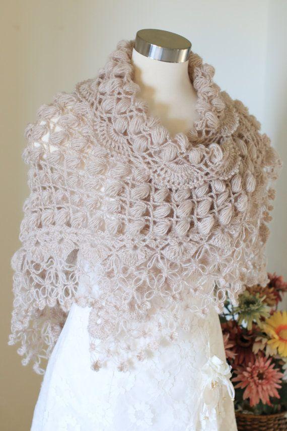 Wedding Crochet Shawl, Beige Shawl, Bridal Cape, Wedding Cape ...