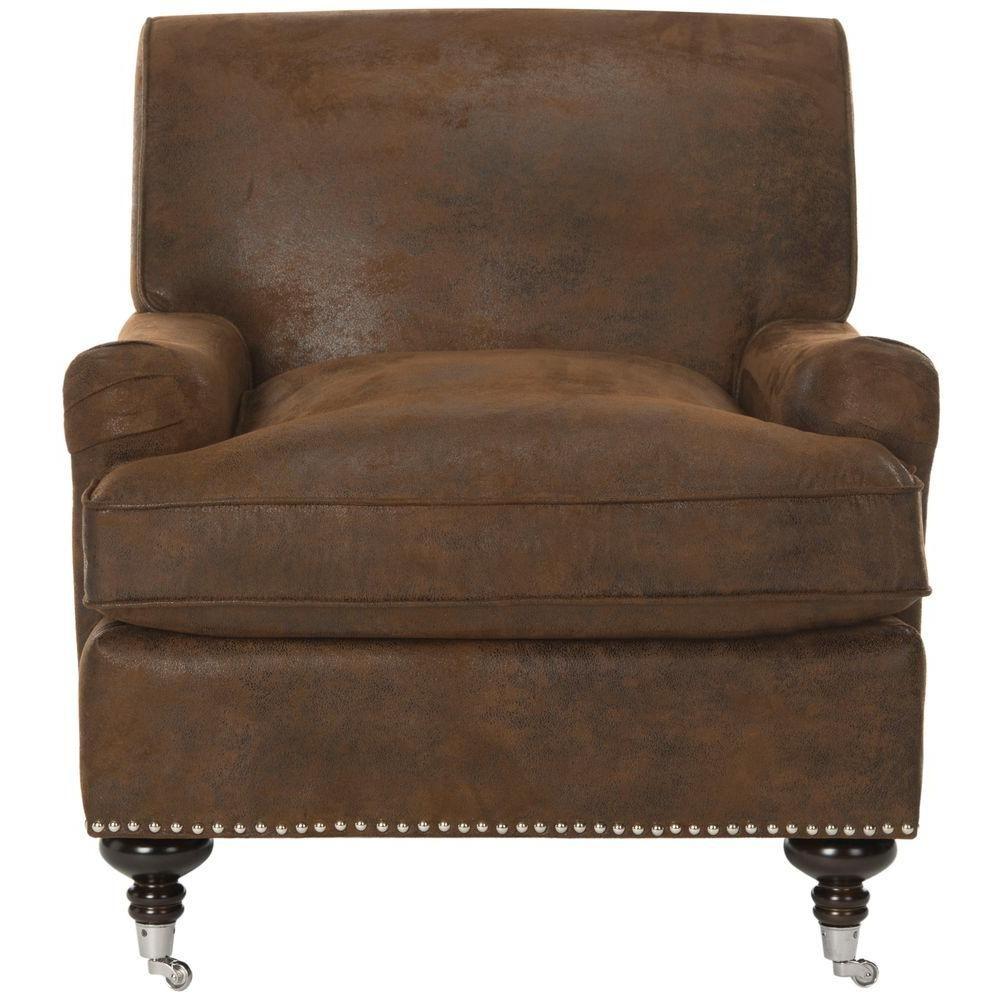 Best Safavieh Chloe Brown Espresso Faux Leather Club Arm Chair Mcr4571G Club Chairs Brown Accent 400 x 300