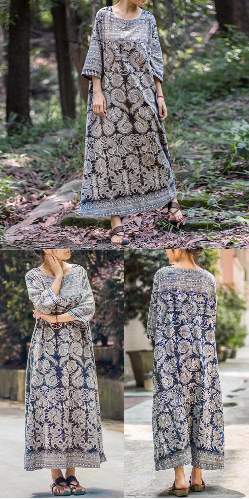 Usdress vintage sleeve ethnic printed long maxi women