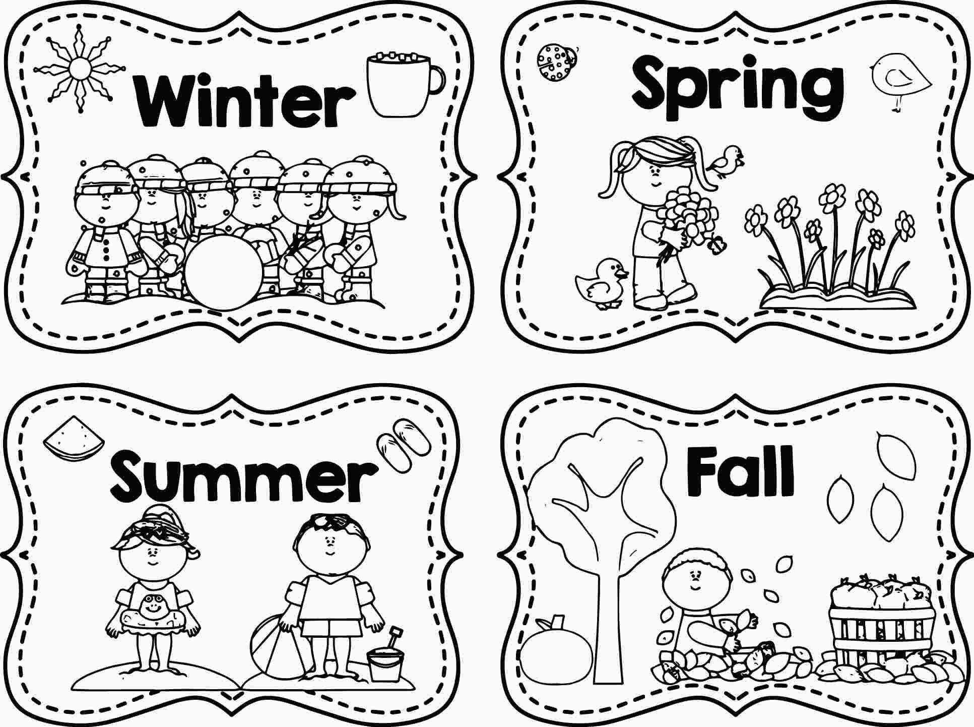 printable 4 seasons coloring page  seasons worksheets