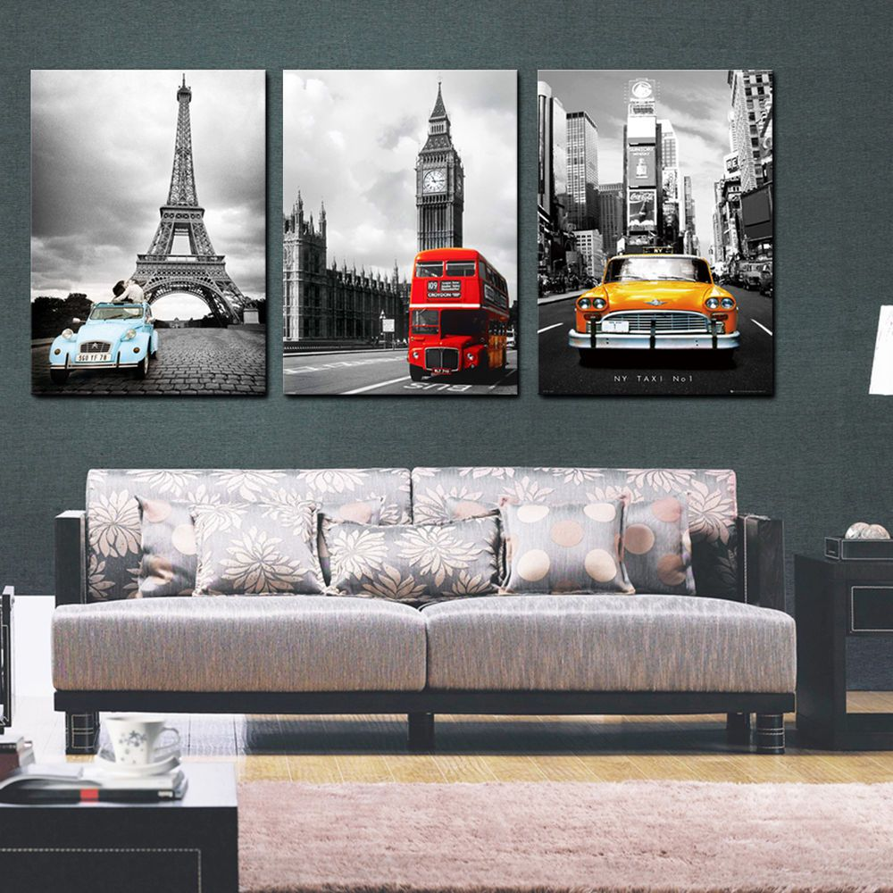 details about nyc paris london easy hang picture mounted on canvas wall art id=39385