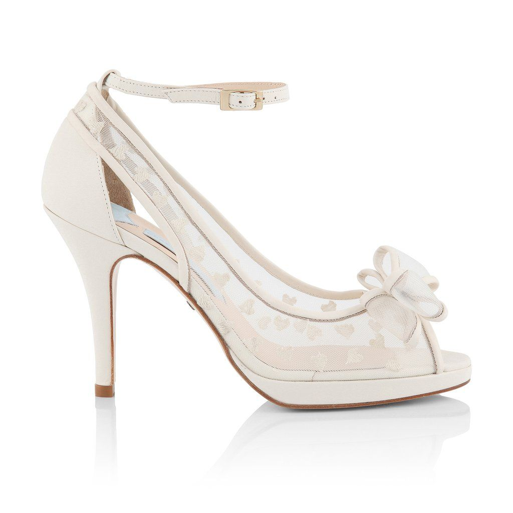 Alexis Is An Ivory Peep Toe Platform Wedding Sandal By UK Designer Charlotte Mills Embroidered With Hearts On Beautiful Mesh Browse Now