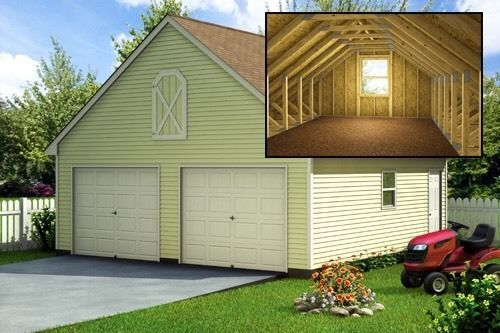 Build a 24 39 x 24 39 garage with loft diy plans fun to for One car garage kit with loft