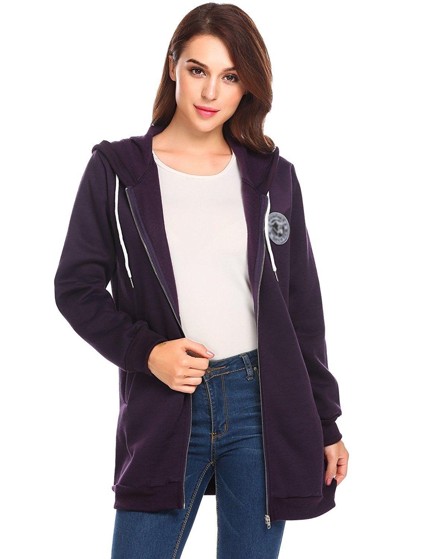 0e8025189c4 Women Hooded Long Sleeve Full Zipper Up Hoodie Sweatshirt Jacket With  Pocket - Violet - CC1888II3S8