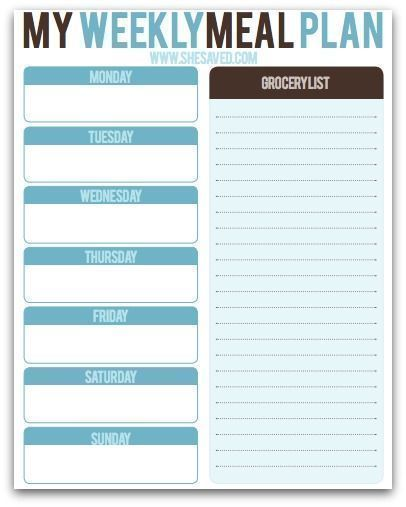 FREE Weekly Meal Planning Printable  Print this FREE Meal Planning Printable to help you to plan our your family meals and take some of